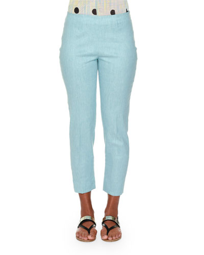 Audrey Chambray Cropped Pants, Aqua