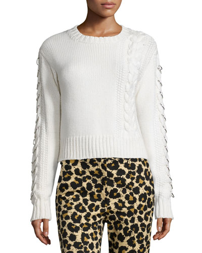 Long-Sleeve Cable-Knit Sweater, White