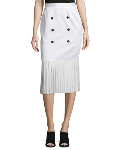 Button-Front Pleated-Hem Skirt, White