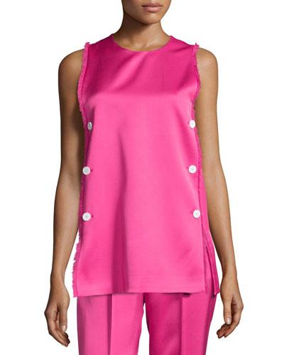 Sleeveless Fringe-Trim Tunic, Neon Pink