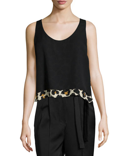 Sleeveless Scoop-Neck Blouse, Leopard Splatter