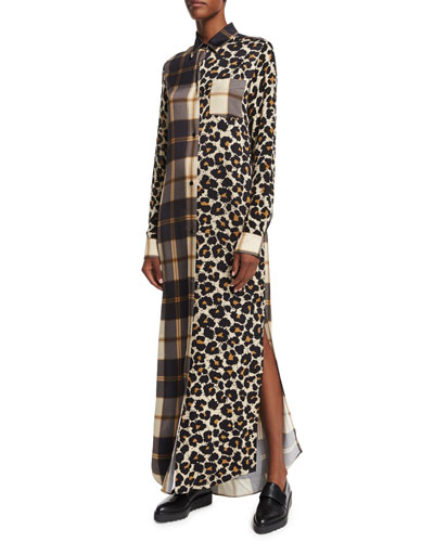 Long-Sleeve Printed Shift Dress, Leopard Splatter