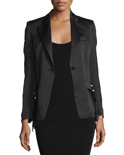 One-Button Fitted Jacket, Black