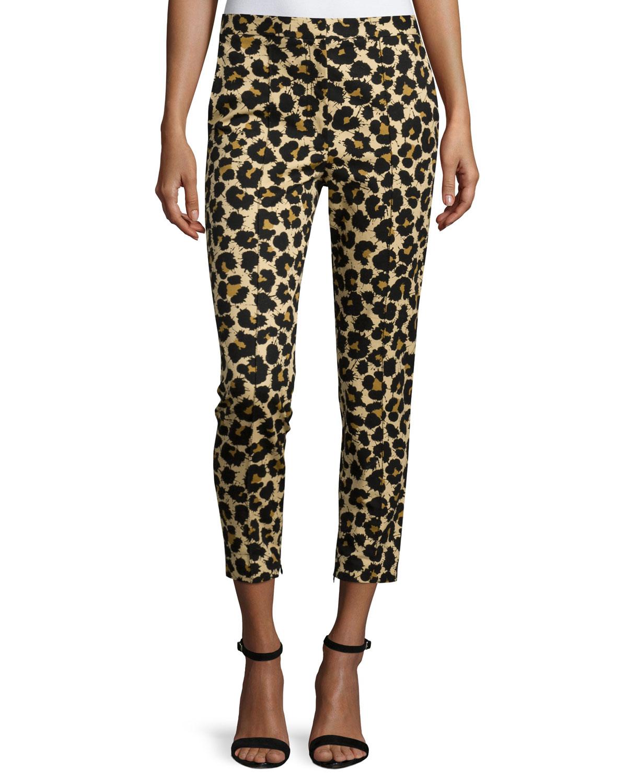 Leopard-Print Skinny Ankle Jeans, Leopard Splatter