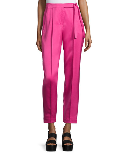 Tapered Wide-Leg Ankle Pants, Neon Pink