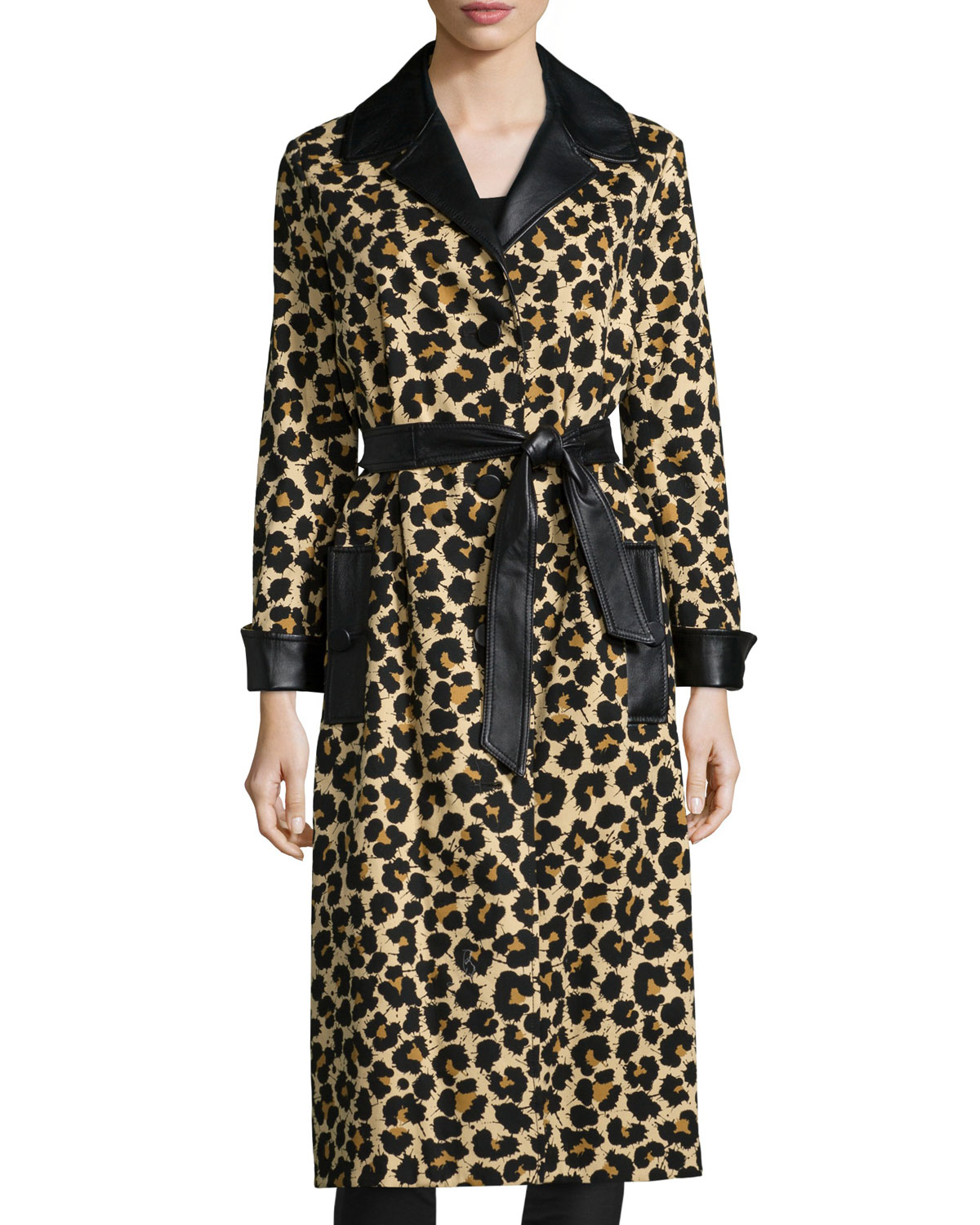 Leopard-Print Trenchcoat W/Leather Trim, Leopard Splatter