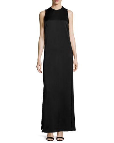 Sleeveless Column Gown W/Fringe, Black