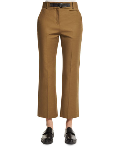 Mid-Rise Flare-Leg Cropped Pants, Terrain
