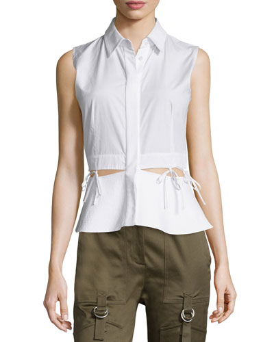 Sleeveless Peek-A-Boo Waist Blouse, Silica