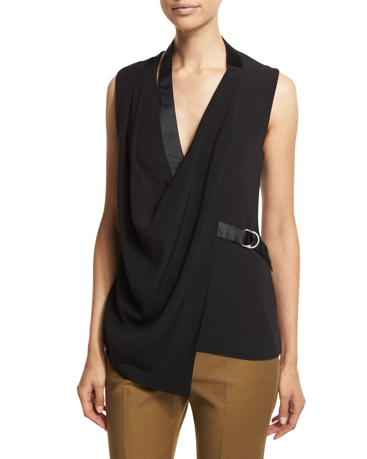 Sleeveless Asymmetric-Drape Wrap Blouse, Onyx