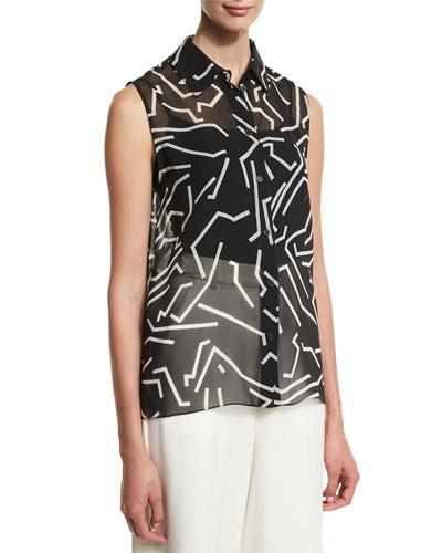 Graphite Sleeveless Button-Front Blouse, Black/White