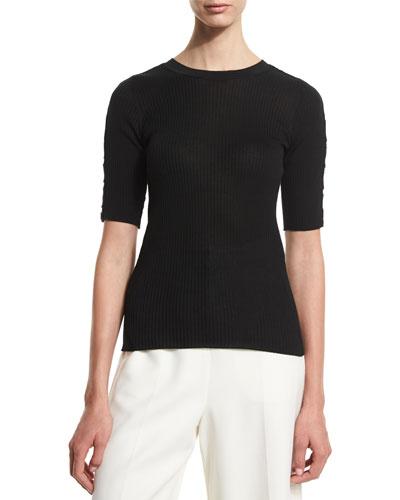 Half-Sleeve Ribbed Sweater, Onyx