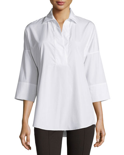 Kimono-Sleeve Split-Neck Blouse, White