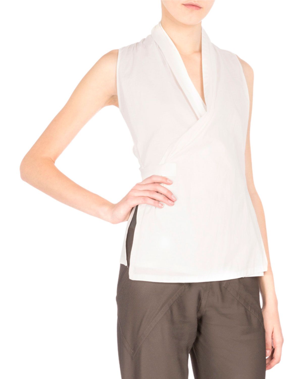 Sleeveless Wrap Blouse W/Self-Tie, Henna