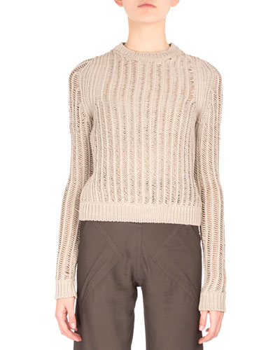 Long-Sleeve Jewel-Neck Pullover, Pearl