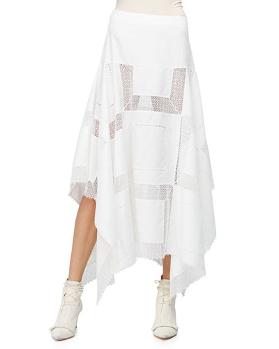 A-Line Lace-Inset Handkerchief Skirt, White