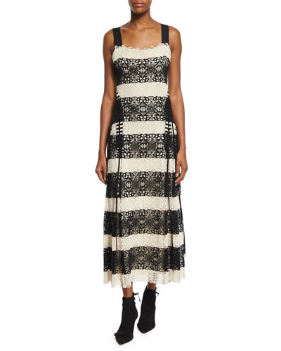 Striped Medallion-Lace Tank Dress, Black/Natural