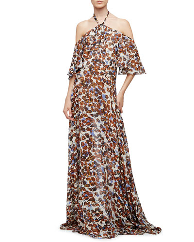 Halter-Neck Floral-Print Silk Chiffon Gown, Natural/Multi Colors