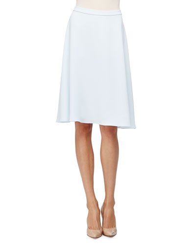 Mid-Rise Crepe A-Line Skirt, Baby Blue