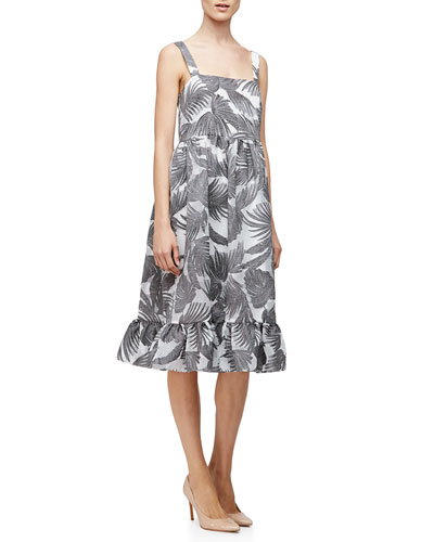 Empire-Waist Palm-Print Tank Dress, Charcoal/White
