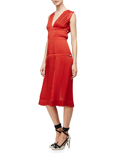 Sleeveless Plisse A-Line Dress, Windsor
