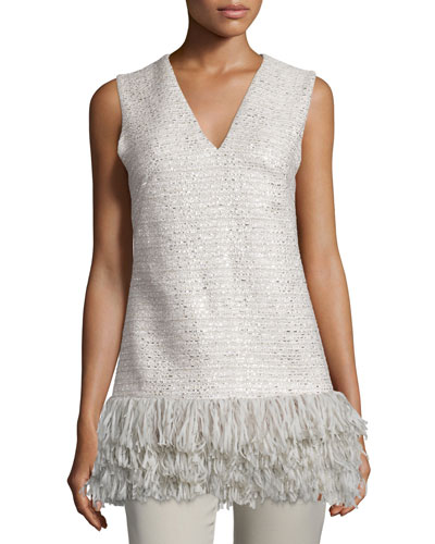 Sleeveless Fringe-Hem Top, Gray/Multi