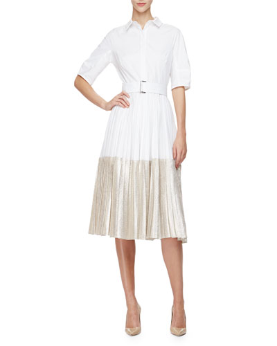 Half-Sleeve Two-Tone Midi Shirtdress, Champagne