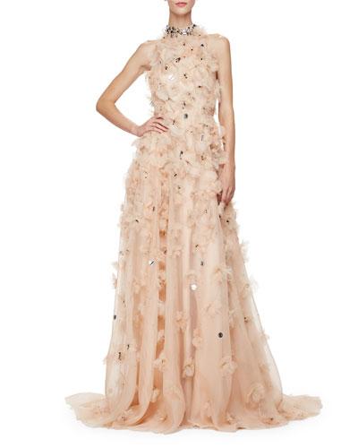 Halter-Neck Embellished-Floral Gown, Nude/Multi
