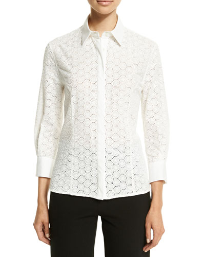 Classic Embroidered Blouse, White