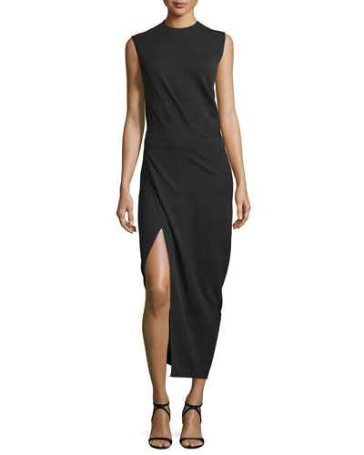 Sleeveless Faux-Wrap Midi Dress