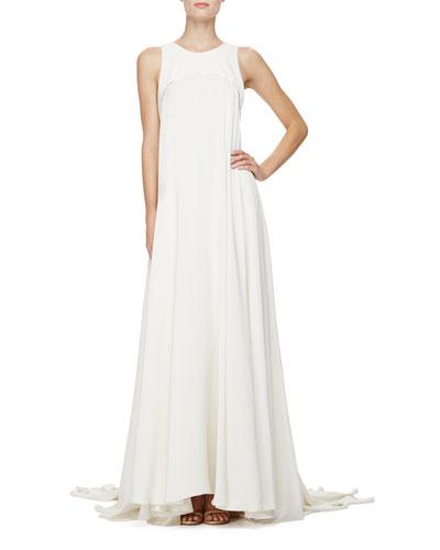 Sleeveless Silk Trapeze Gown, Porcelain