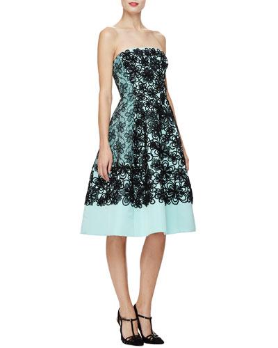 Strapless Floral Fit-&-Flare Dress, Seafoam/Black