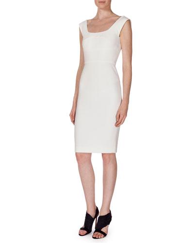 Sleeveless Textured Sheath Dress, White