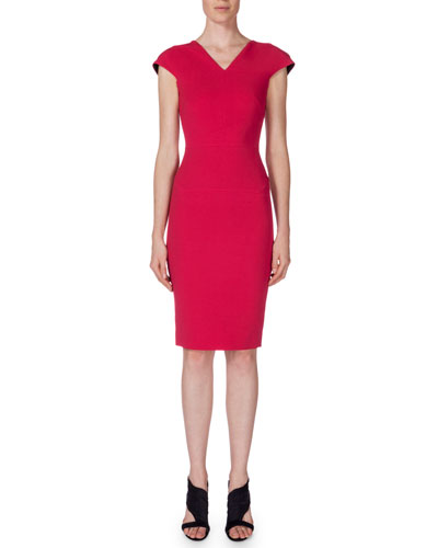 V-Neck Cap-Sleeve Sheath Dress, Berry Pink