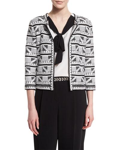Elia Geometric-Knit 3/4-Sleeve Jacket, Caviar/Bianco