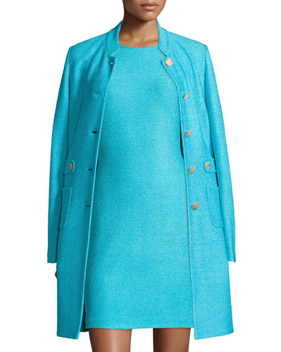 Windy Knit Topper Jacket w/ Waist Tabs, Aqua