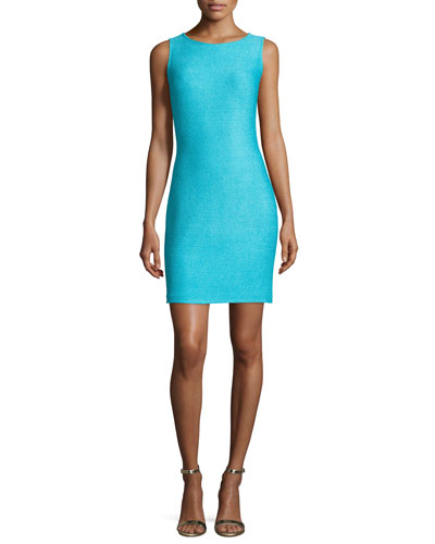 Windy Knit Scoop-Neck Sheath Dress, Aqua