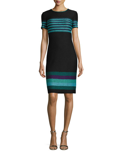 Macro Striped Short-Sleeve Sheath Dress, Caviar/Multi