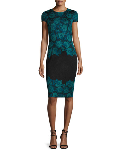 Aegean Floral Jacquard Knit Sheath Dress, Caviar/Seafoam