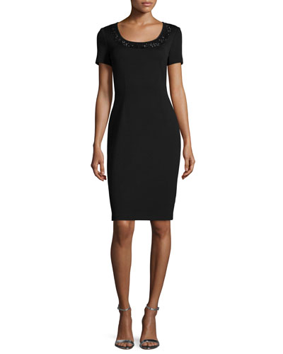 Milano Knit Sequined Sheath Dress, Caviar/Jet
