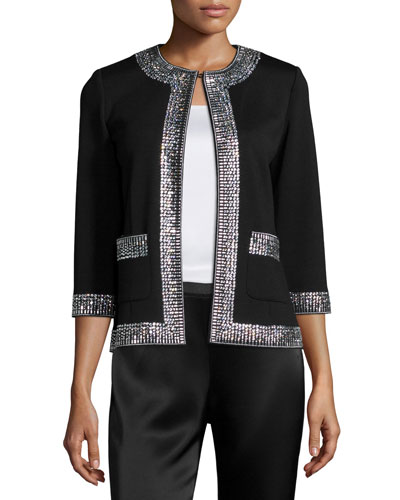 Sequined-Trim 3/4-Sleeve Jacket, Caviar/Crystal