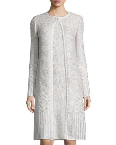 Adara Knit Jewel-Neck Topper Coat, Alabaster/Multi