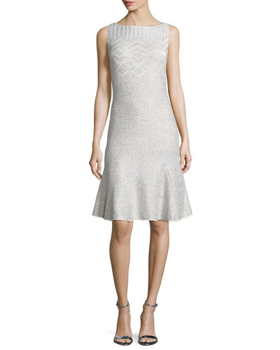 Adara Knit Godet-Hem Dress, Alabaster
