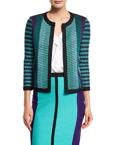 Macro-Stitch Multi-Stripe 3/4-Sleeve Jacket, Caviar/Multi