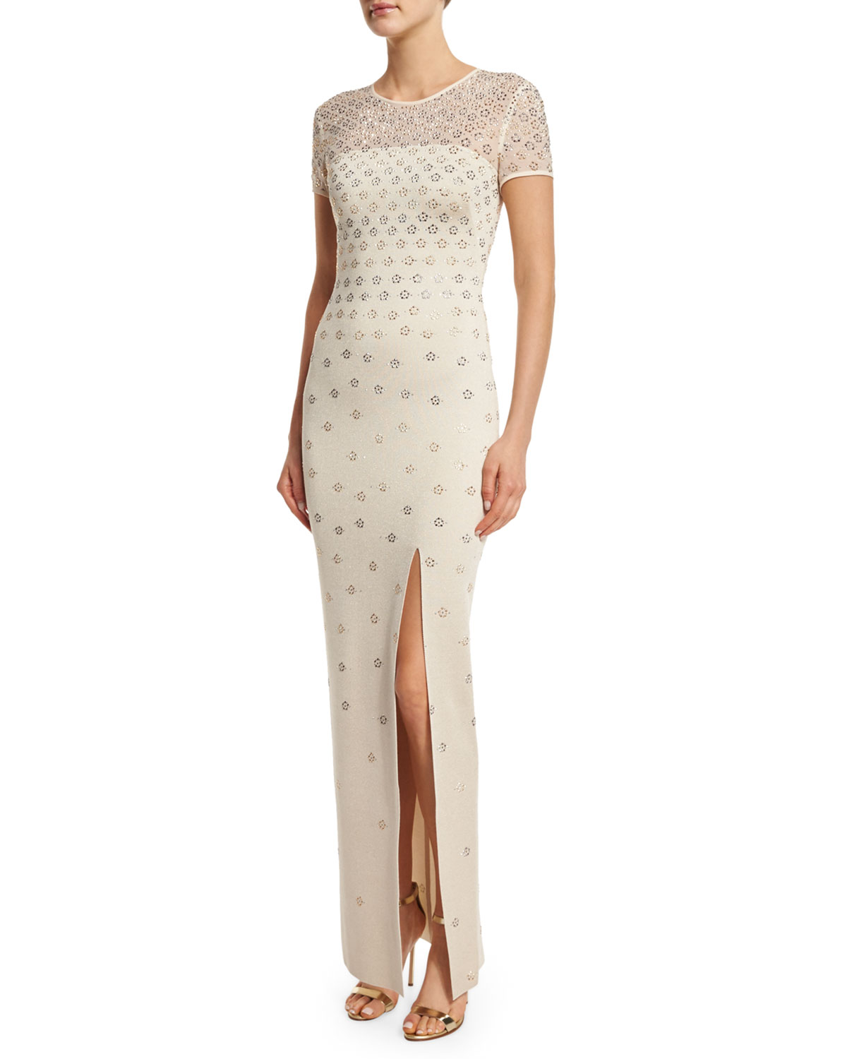 Shimmery Milano Knit Short-Sleeve Gown, Pale Gold