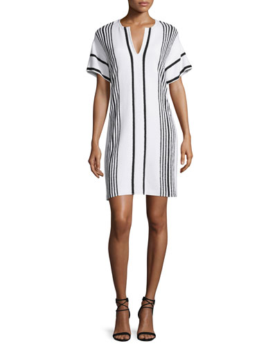 Boucle Striped Short-Sleeve Shift Dress, Bianco/Caviar