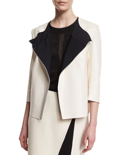Bonded Leather 3/4-Sleeve Jacket, Alabaster/Caviar