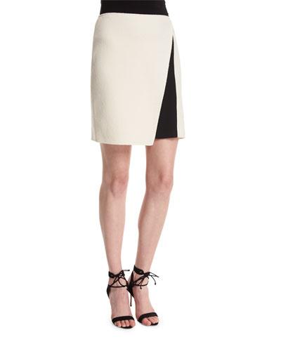 Nouveau Boucle Contrast-Panel Skirt, Alabaster/Caviar