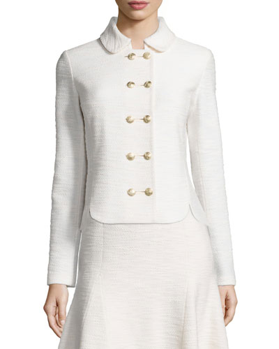 Mili Knit Double-Breasted Jacket, Alabaster