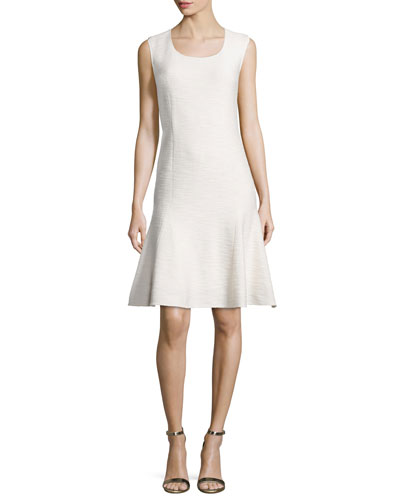 Mili Flared Scoop-Neck Dress, Alabaster
